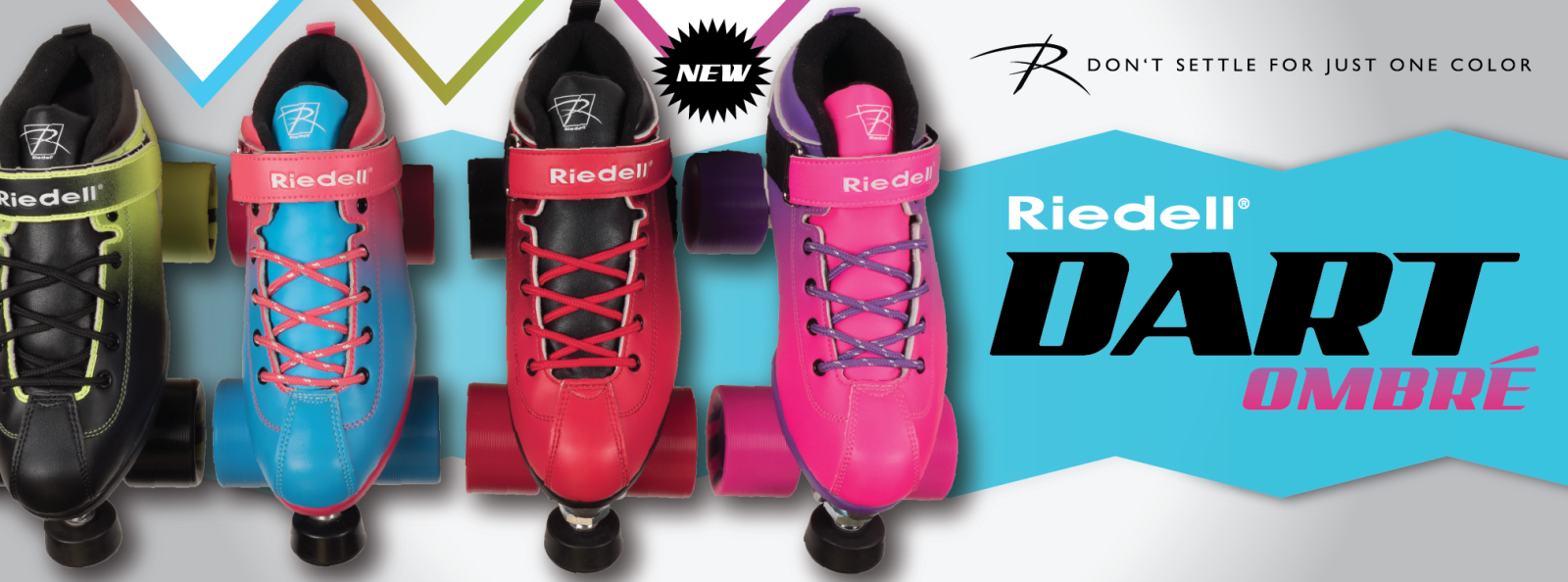 Buy Now - All new Riedell Dart Ombre colors - Black-Red and Purple-Pink!