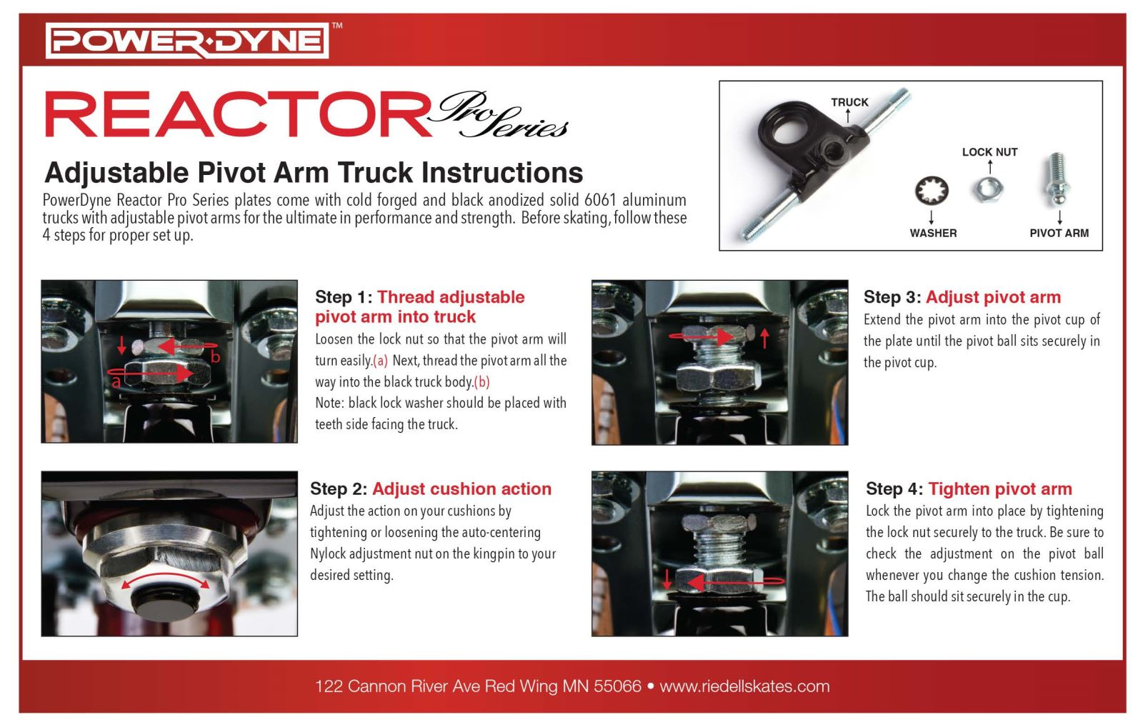 PowerDyne Reactor Pro Series Adjustable Pivot Arm Truck Instructions Card