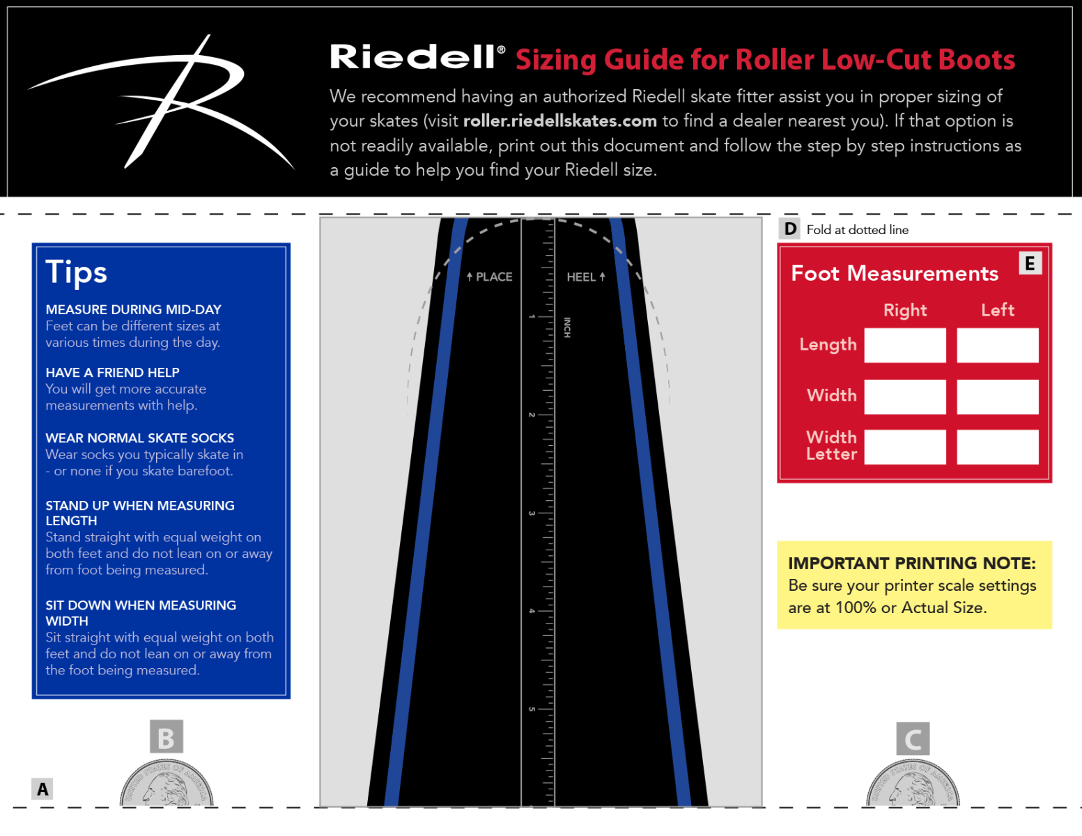 Click to download Riedell's Low-Cut Boot Sizing Guide.