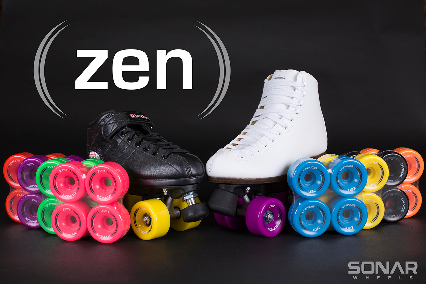 The colorful Sonar Zen outdoor roller skate wheels
