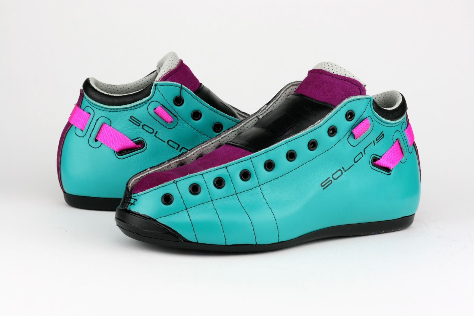 Riedell Solaris ColorLab Boots - Turquoise and Fuchsia