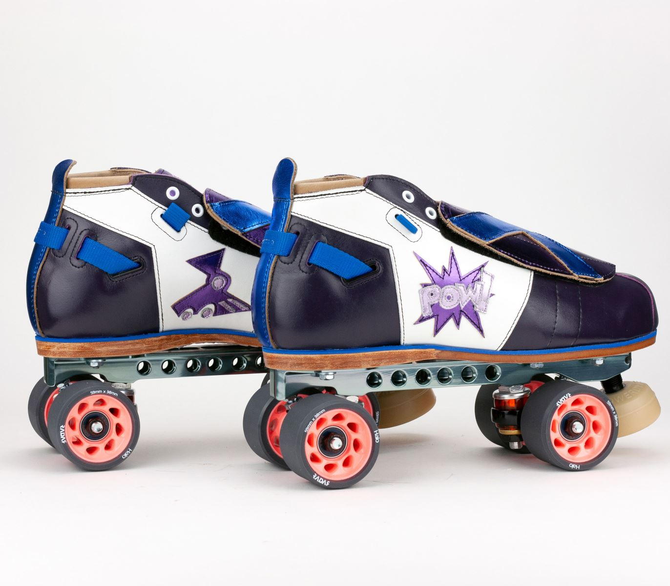 "Riedell Superstar Freight Train's Custom 1065 Boot with custom ""Boom"" and ""Pow"" graphics"