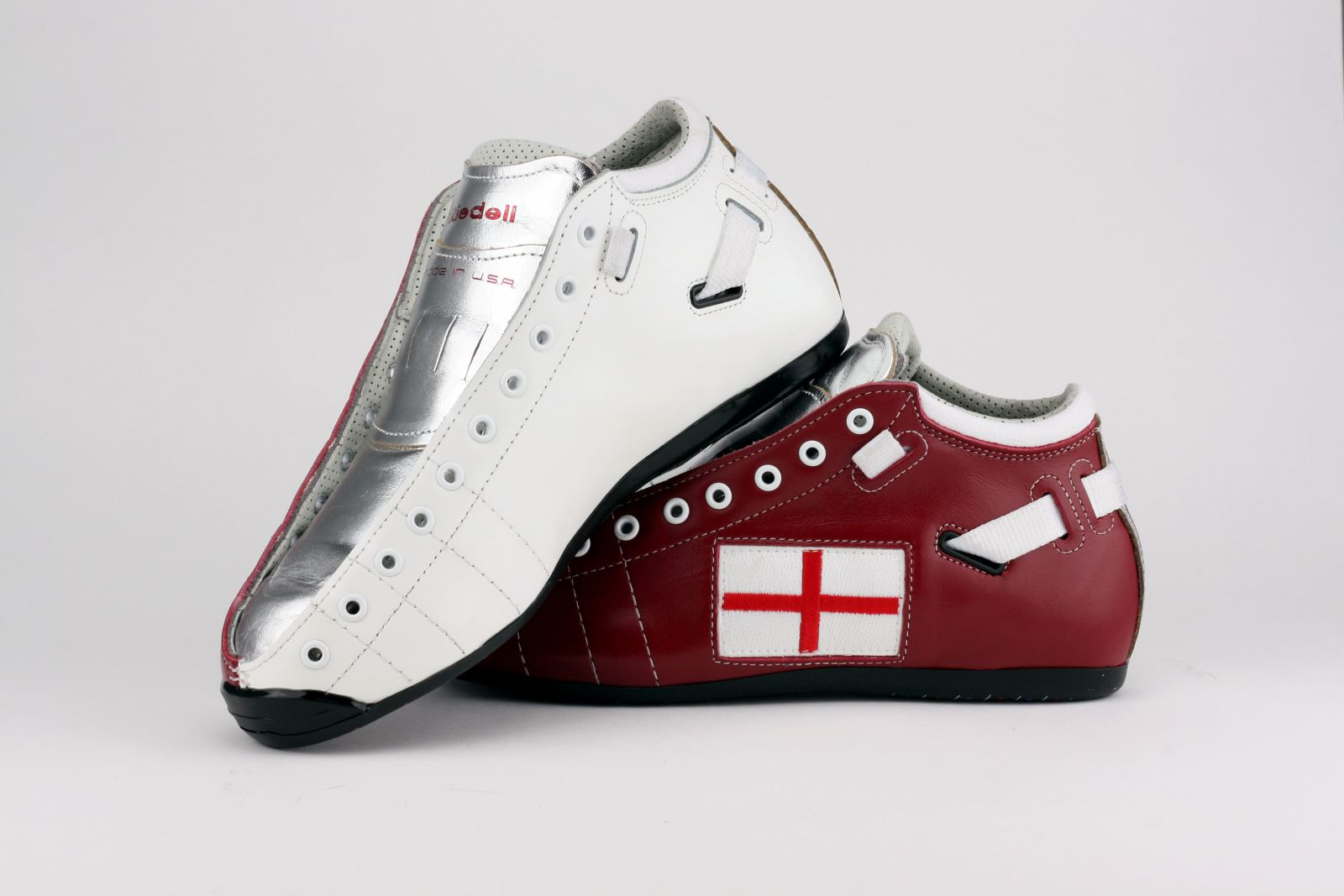 Riedell Superstar Shaolynn Scarlett's Custom Solaris Boots - Red and White Leather with England Flag Patch