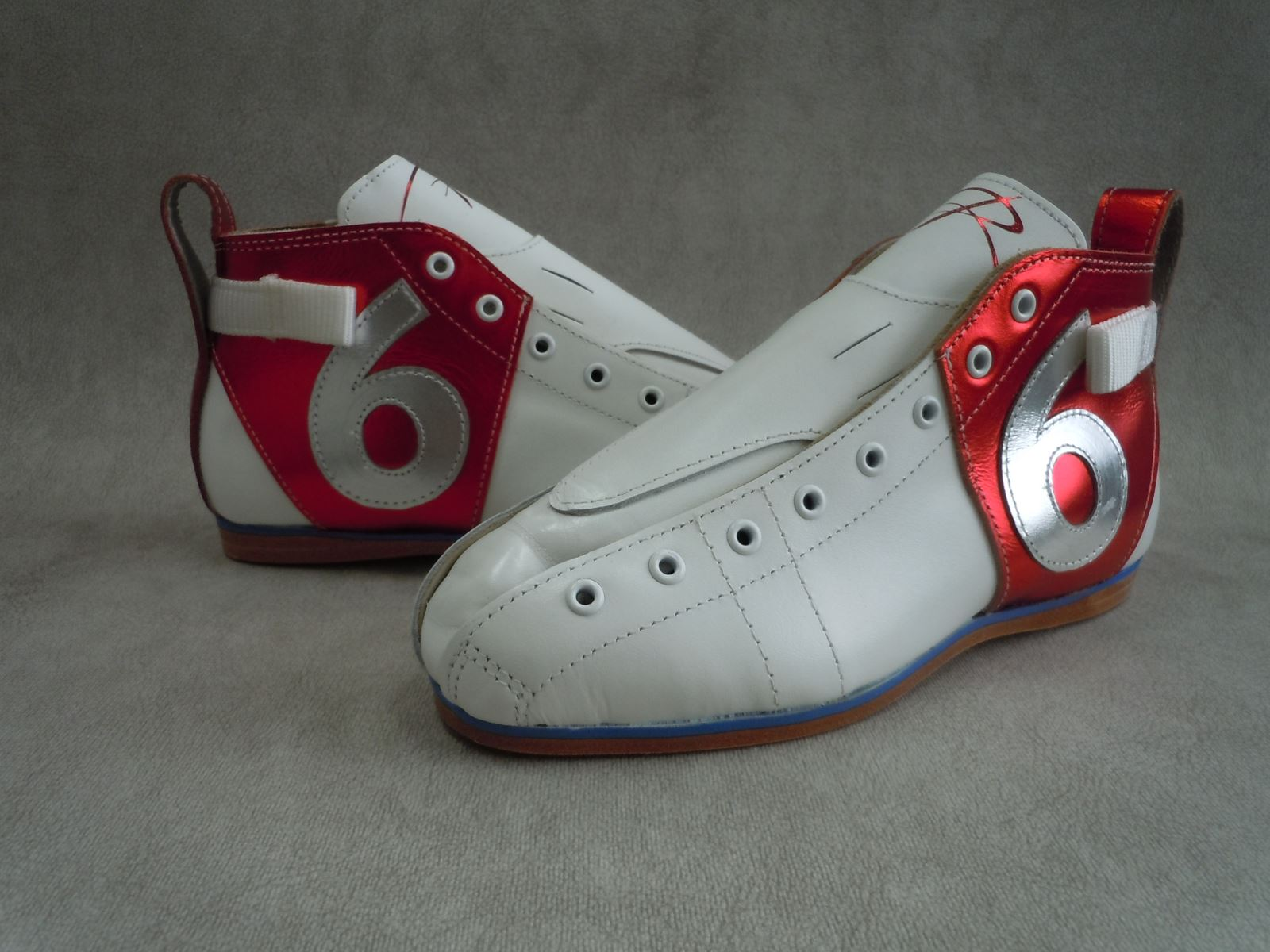 Riedell Superstar Wild Cherri's Custom Boots - White and Red Metallic Leather with Custom Decal and Number on the sides of the boots